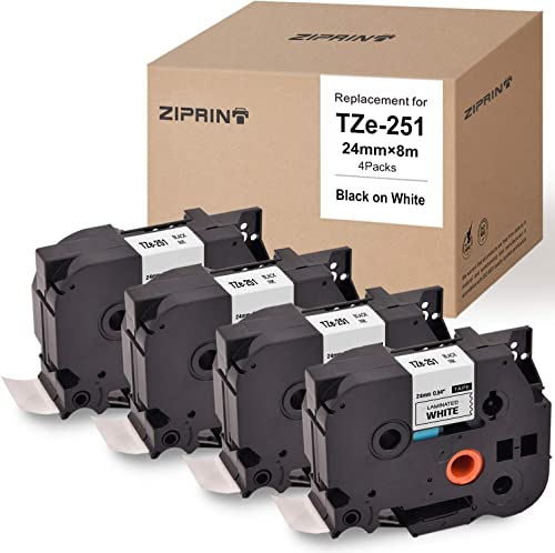 popular ZIPRINT Compatible Label Tape Replacement for Brother P-Touch Label Maker TZ TZe new arrival Laminated Tape TZe251 online sale TZ251 Black on White 24mm (1 Inch) x 26.2 ft. (8m), 4-Pack online