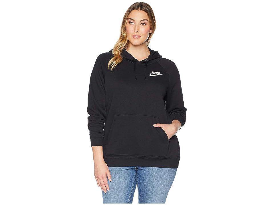 Nike Plus Size Rally Extended Hoodie (Black/Black/White) Women