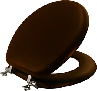 product image for MAYFAIR 9601CP 888 Toilet Seat with Chrome Hinges, ROUND, Walnut Veneer