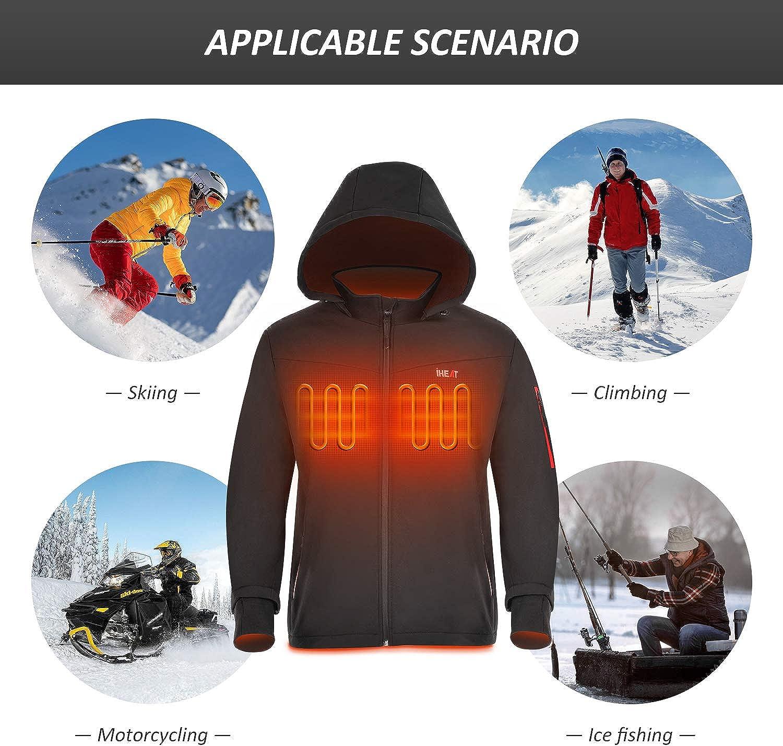 Men's Heated Jacket Soft Shell, iHEAT Winter Jacket Heated Hoodie, Warm Coat with 14400 mAh Battery Pack