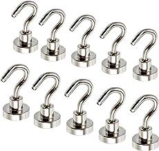 Magnetic Hooks 10 Pack ESYNIC 12LB N52 Neodymium Hold 5.5kg Strong Hooks Magnet D16 16mm Ferrite Magnetic Hooks for Indoor...