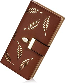 Women's Wallet Hollow Leaf Pattern Bifold Leather Lady Purse Coin Button Clutch Bag