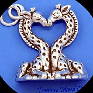 Kissing Giraffe Couple Heart 925 Sterling Silver Charm Pendant Adorable Charms and More for Your own Designs by CharmingStuffS