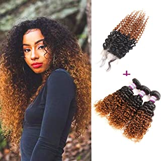 RACILY 1B/#30 Ombre Bundles with Closure, 10A Brazilian Kinky Curly Hair 3 Bundles with Lace Closure, 4x4 Inches Dark Brown Closure with Baby Hair, Blonde Remy Human Hair (12