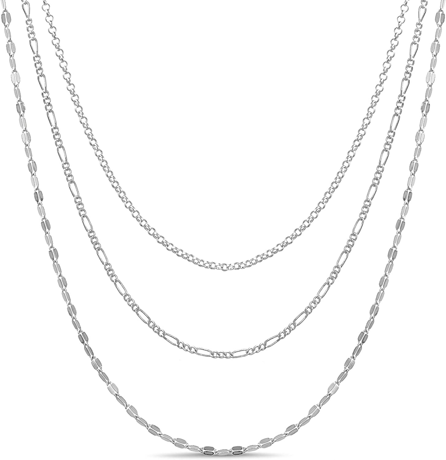 AUBREY LEE Three Row Sparkle Curb Figaro Chain Layered Necklace for Women