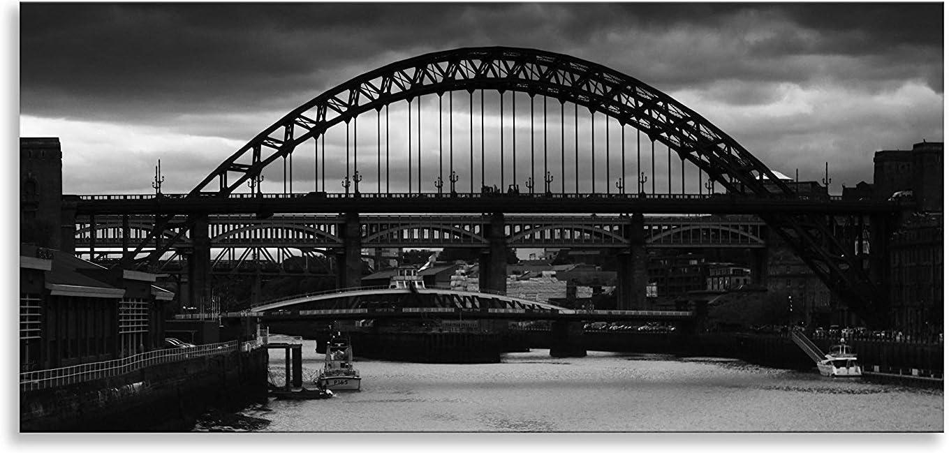 Tyne Bridge Newcastle City B/&W Picture PANORAMIC CANVAS WALL ART Print