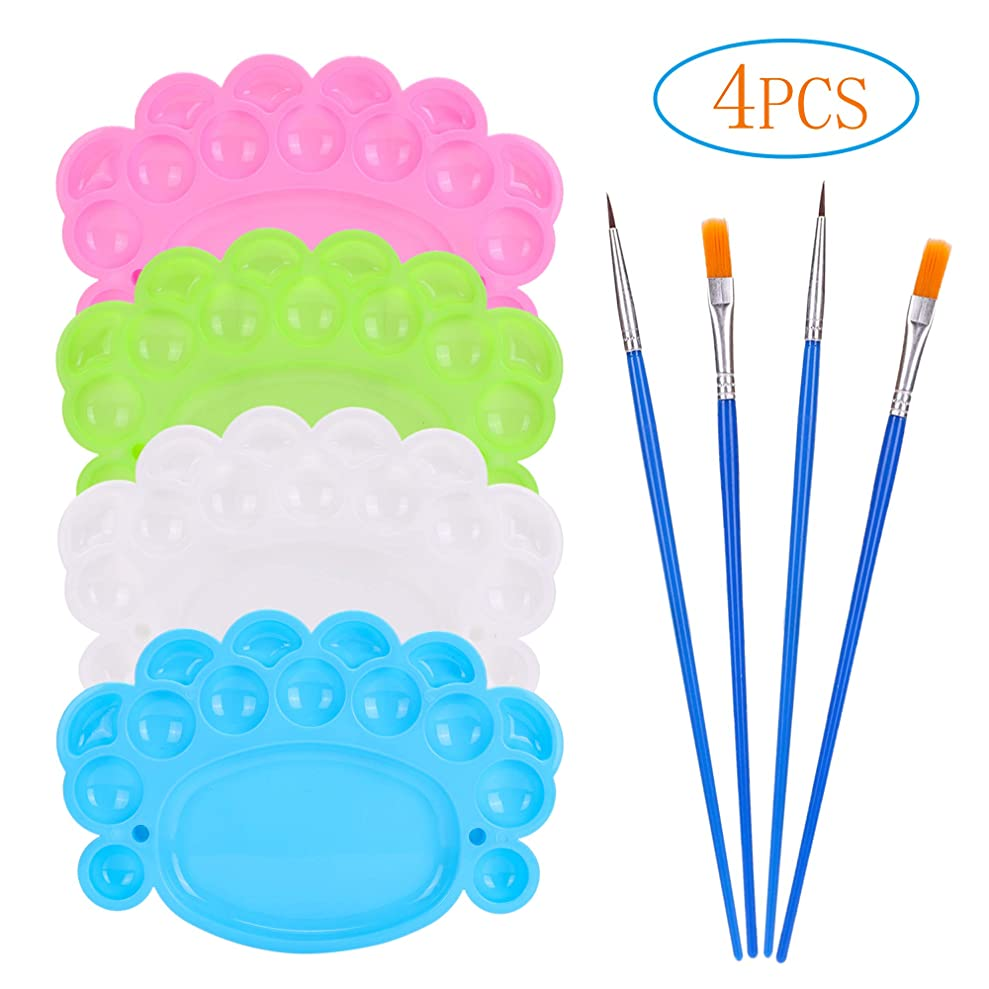 4 Pcs Paint Brushes with 4 Pcs Paint Pallet Trays for Kids and Adults to Create Art Paint stqrueoyu1654