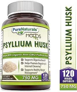 Pure Naturals Psyllium Husk - 750 mg Veggie Capsules (120 Count).SupportsDigestive & ImmuneHealth*, Support Healthy Weight Management*