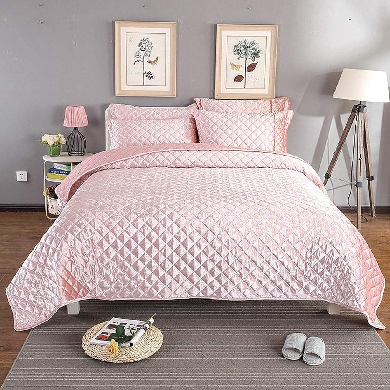卑しい歯科医平和YIYUTING 羽毛布団カバー3ピースベッドゴールドベッドカバー3セットのキルト無地プラスシートをホームに適用 (色 : ピンク)