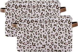 Evlife Storage Basket Cube Pink Leopard Cheetah Print Large Collapsible Toys Storage Box Bin Laundry Organizer for Closet ...
