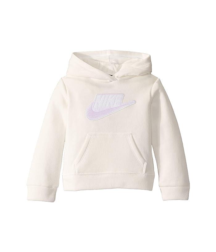 Nike Kids  Sueded Fleece Iridescent Logo Pullover Hoodie (Toddler) (Sail) Girls Clothing