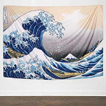 IcosaMro Wave Tapestry Wall Hanging - Hokusai Wall Art with Hemmed Edges, Ocean Sea Wall Blanket Home Decor for Bedroom College Dorm, (The Great Wave Off Kanagawa, 60x82.7), Orange