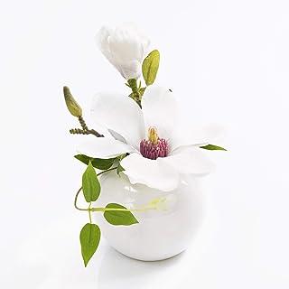 artplants.de Fleur de Magnolia Artificielle FEMI, Pot en céramique, Blanc, 20cm, Ø 17cm - Magnolia décoratif - Composition...