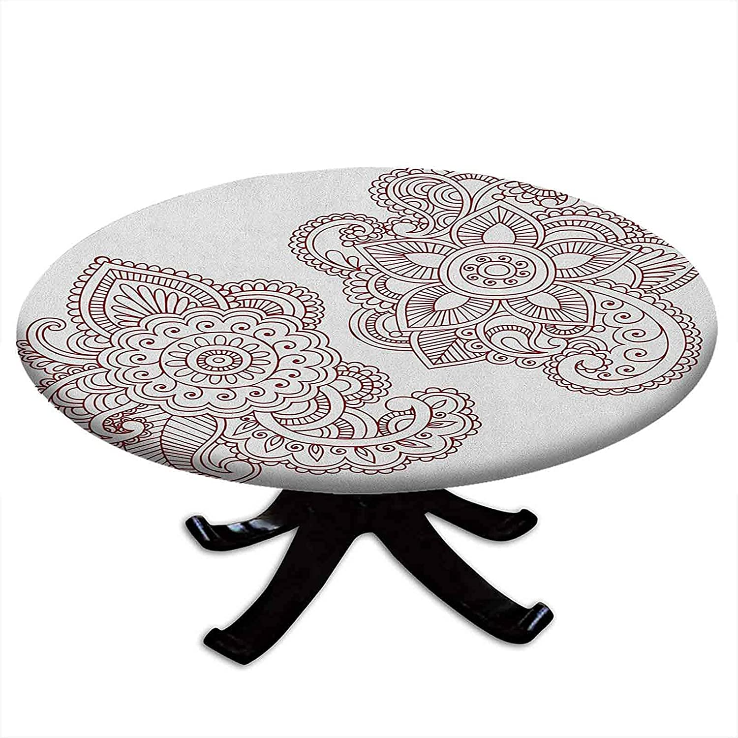 Max 78% OFF Max 48% OFF Round Fitted Henna Tablecloth Intricate Style Doodle Ornate Mot