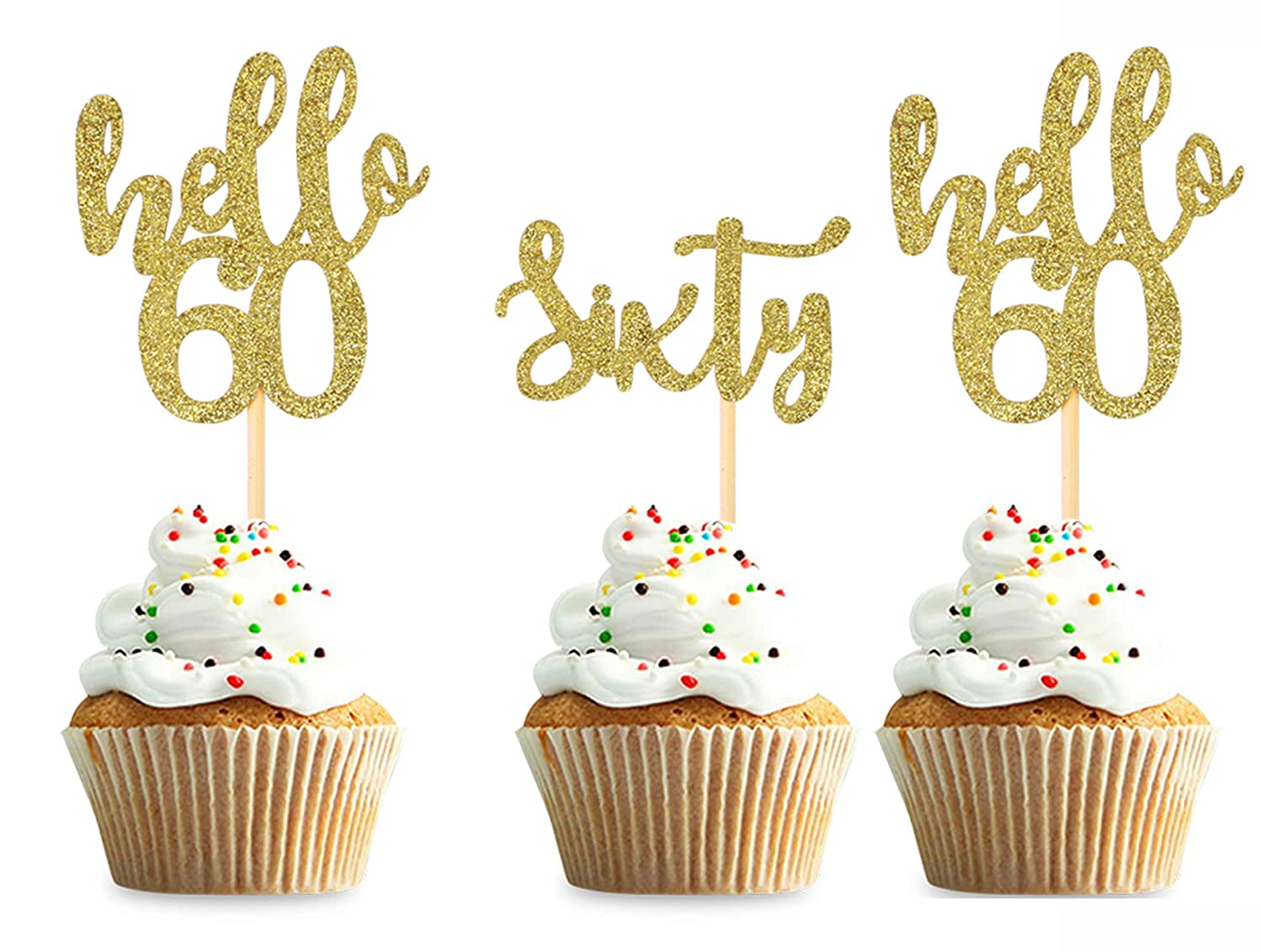 36pcs Gold 60th Birthday Cupcake Sixty Toppers supreme 60 New sales Hello