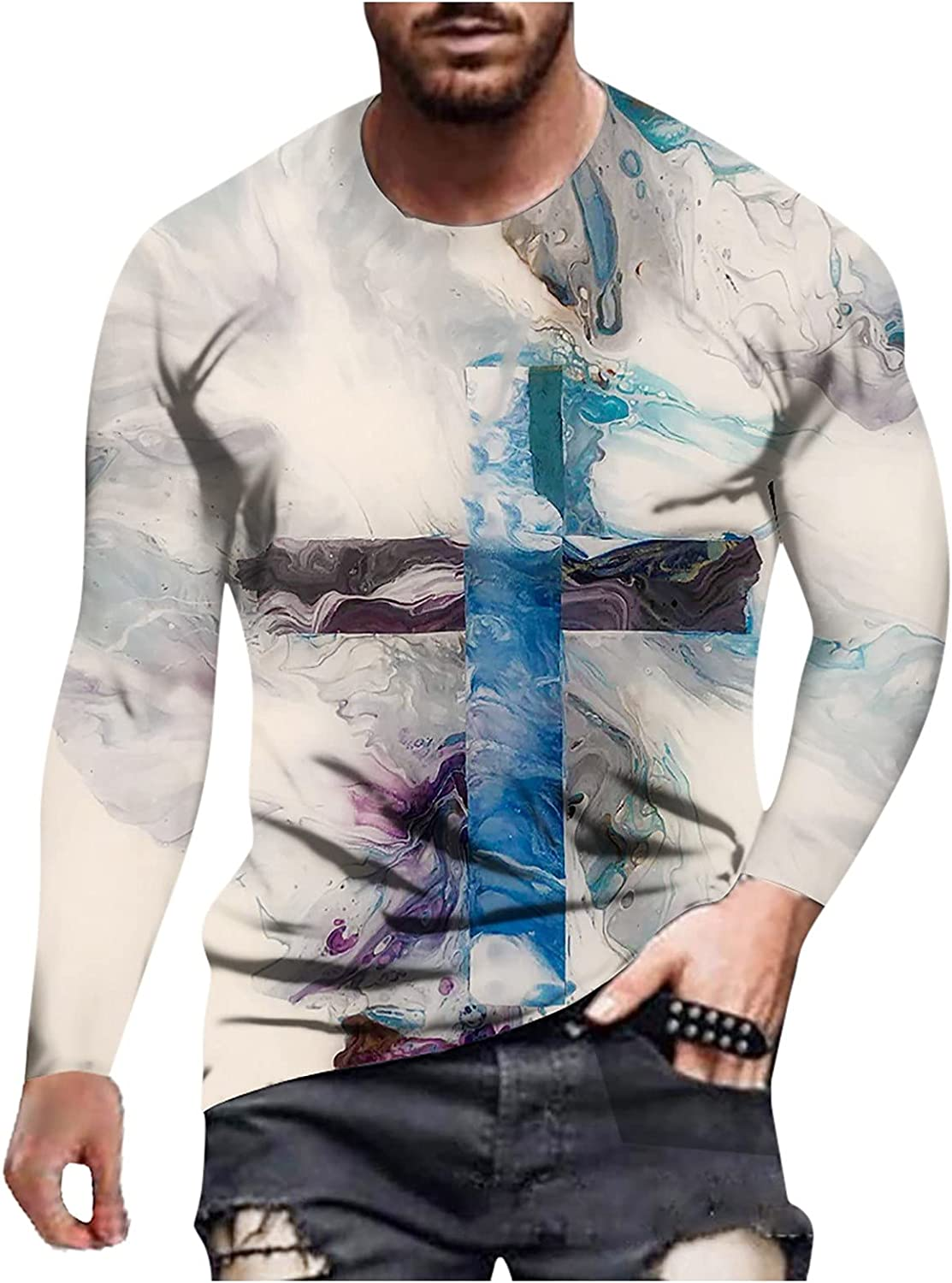 Men's Long Sleeve T-Shirts Autumn Winter Casual Fashion Printed Crew Neck Long Sleeve Top Henley Shirts Slim Fit