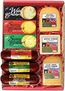 WISCONSIN CHEESE COMPANY'S - Wisconisn Big Deluxe Elite Gouda Cheese, Sausage & Cracker Gift, A Perfect Holiday Food Gift, Cheese Gift, Gift for Family and Friends.