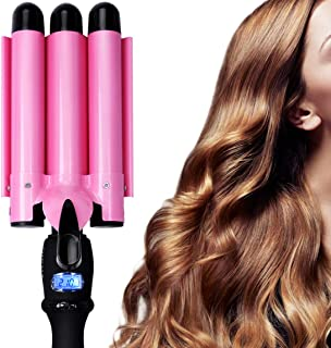 Hair Curling Iron 1 Inch 3 Barrel Waver Iron Wand Fast Heating With LCD Temperature Display 176°F To 410°F - For All Types...
