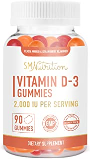 Sponsored Ad - Vitamin D3 Gummies for Adults (90 Count) - 50mcg (2000 IU) - Bone Health*, Immunity*, & Mood Support* Gummi...