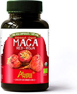 Amazon Andes - Gelatinized Red maca Root Capsules - 100 * 500 mg - Vegan Pills - Organic USDA Supplement - Non GMO