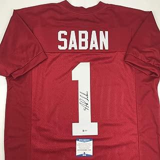Autographed/Signed Nick Saban Alabama Red College Football Jersey Beckett BAS COA