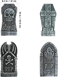 NUOBESTY 4pcs Halloween Decor | RIP Graveyard Foam Tombstone | Spooky Gravestones Outdoor Decor Scary Zombie Vampire Grave...