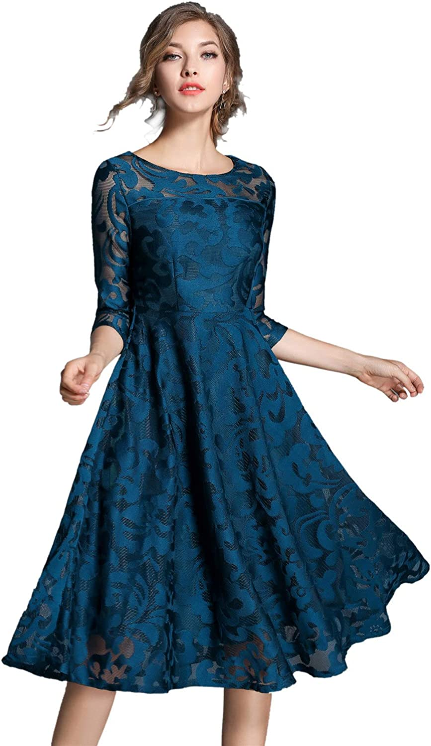XINUO Women Dresses Fall Vintage Formal Floral Lace A Line Midi Tea Swing Dress Bridesmaid Evening Cocktail Party Dress