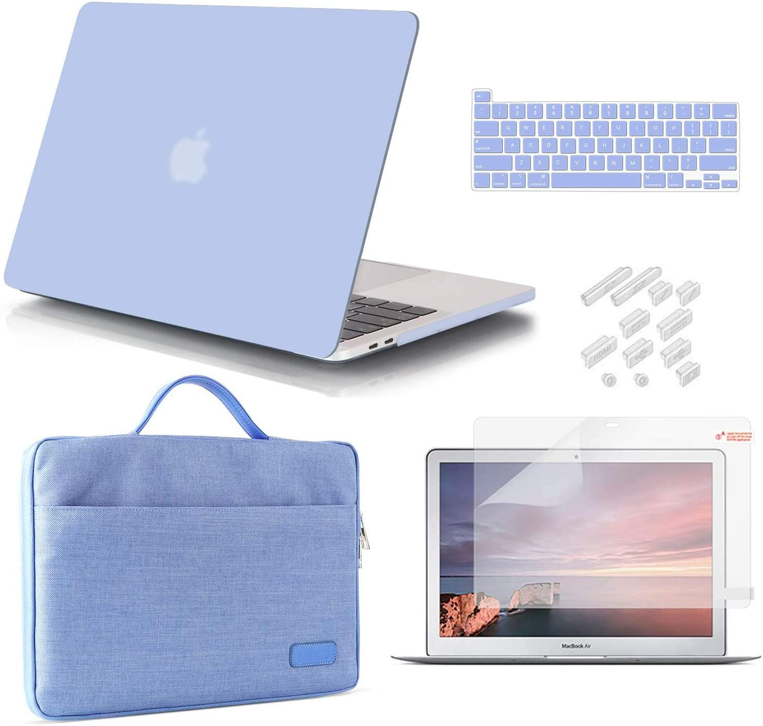 iCasso MacBook Pro 13 Inch Case 2020 Release Model A2338M1 /A2251/A2289 Bundle 5 in 1, Hard Shell Case, Sleeve, Screen Protector, Keyboard Cover&Dust Plug Compatible MacBook Pro 13'' - Serenity Blue