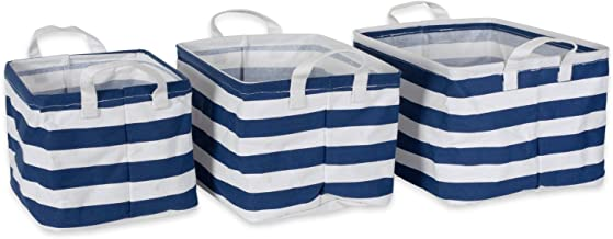 DII Cotton/Polyester Laundry Basket Assorted Small Bins, Extra S/2, Nautical Blue