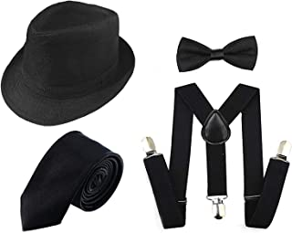 1920s Men Accessory Set Manhattan Hat, Y-Back Suspenders, Pre Tied Bow Tie,Gangster Tie Theme Party for Halloween