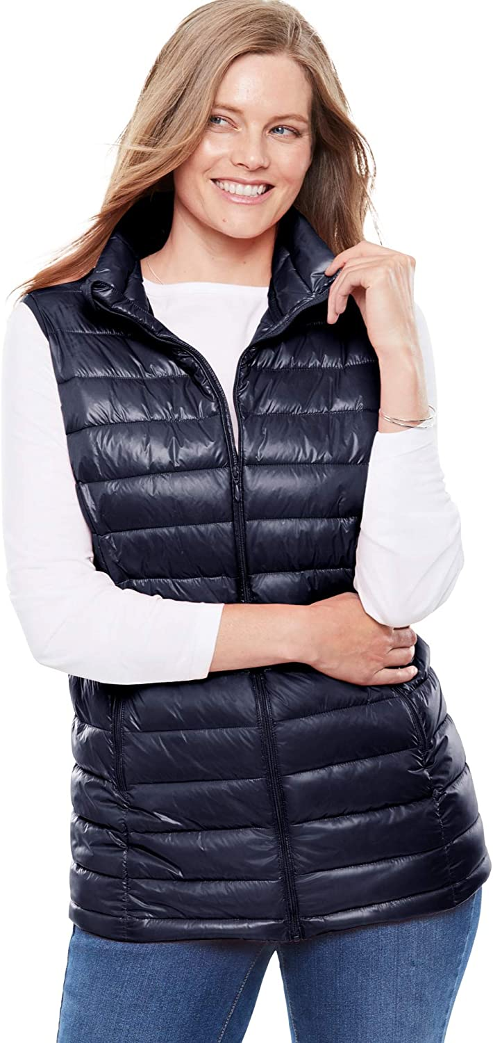 Woman Within Women's Plus Size Packable Puffer Vest