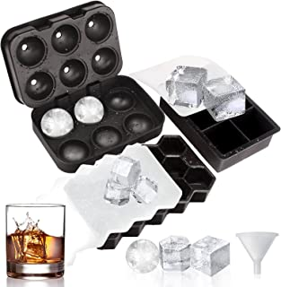 Ice Cube Tray with Lid - Set of 3 Reusable Large Silicone Ice Cube Trays Mold for Freezer, Contain 1 Large Square 1 Spheri...