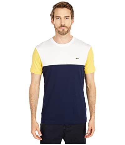 Lacoste Short Sleeve Striped Color-Block T-Shirt (Navy Blue/Flour/Daba) Men