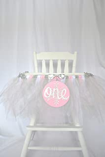Light Pink, Silver and White Winter Onederland Highchair Tutu