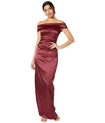 Vince Camuto Off the Shoulder Gown with Side Tucks (Wine) Women