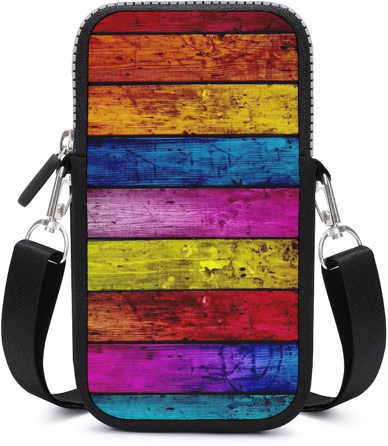 SWEET TANG Vintage Colorful Wood Phone Riding Multipurpose Handbag - Passport, Credit Card Adjustable Shoulder Strap, Holder Wristlet Convertible Cross Body Bag