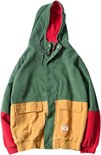 Marvin Cook Autumn Color Block Patchwork Corduroy Hooded Jackets Men Hip Hop Hoodies Coats Casual Streetwear Outerwear