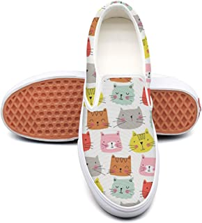 VCERTHDF Cute Cat Meow Face Print Boat Shoe Mens White