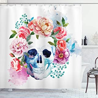 Ambesonne Skull Shower Curtain, Funny Skull with Colorful Floral Head Victorian Style Dead Skeleton Graphic Art Print, Cloth Fabric Bathroom Decor Set with Hooks, 70