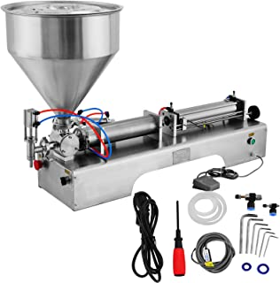 LOVSHARE Cream Filling Machine 100-1000ml Liquid Filler 30L Pedal Pneumatic Paste Filling Machine for Paste High-viscosity Single Head Horizontal Semi-auto Filling Machine with Funnel