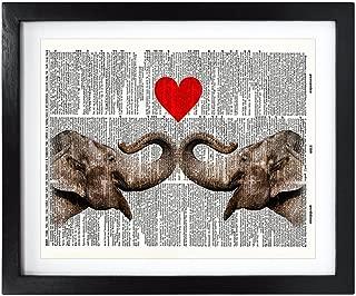 Susie Arts 8X10 Unframed Elephant Love Upcycled Vintage Dictionary Art Print Book Art Print Funny Art Print Funny Wall Art V036