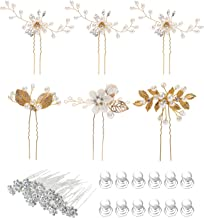 38 Pack Women Wedding Bridal Bride Hair Clips Side Combs Gold Decorative Bobby Pins Barrettes Vines Party Prom Headpiece H...