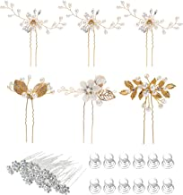 38 Pack Women Wedding Bridal Bride Hair Clips Side Combs Gold Decorative Bobby Pins Barrettes Vines Party Prom Headpiece Hairstyle Accessories Vintage Crystal Rhinestone Pearl Flower Ivory Silver Gold