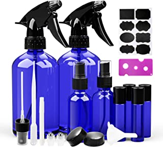 Glass Spray Bottles, 2 Trigger Sprayers with Screw Cap, 2 Mist Sprayers, 4 Roller Bottles for Essential Oils, Aromatherapy with Labels and Washable Marker, Cap, Dropper, Roller Ball