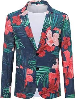 Allthemen Men's Casual Two Button Fit Suit Blazer Coat Floral Jacket 3D Printed Top