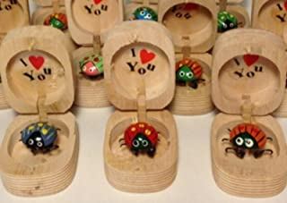 LOT OF 3- TOY WIGGILY LADYBUG LOVEBUG I LOVE YOU IN WOODEN BOX BOBBLE FEET