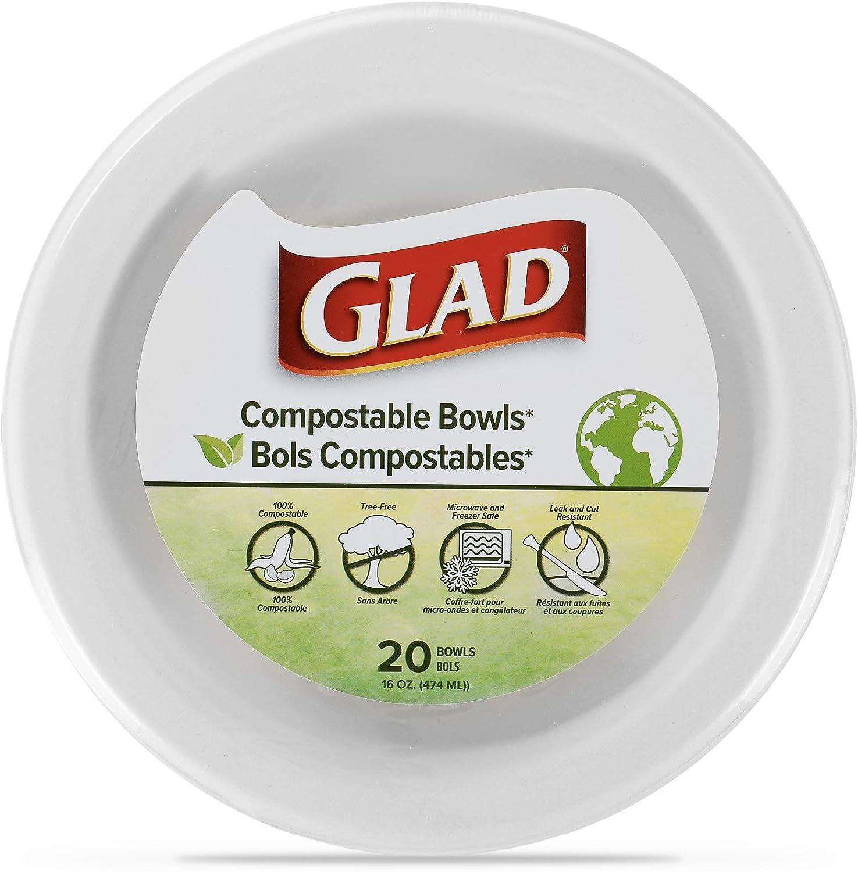 Glad Compostable Paper Bowls | 16 oz Disposable Soup Bowls, 20 Count | Sugarcane Disposable Bowls, Microwavable and Freezer Safe, Leak Resistant Compostable Eco-Friendly Paper Bowls | Glad Paper Bowls