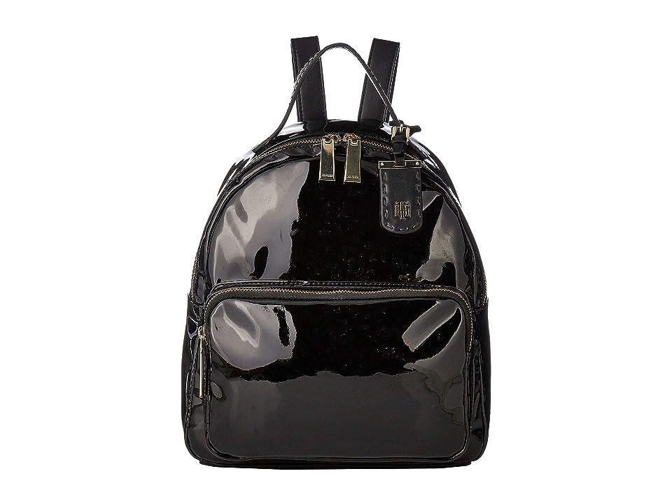 Tommy Hilfiger Julia Patent Backpack (Black) Backpack Bags