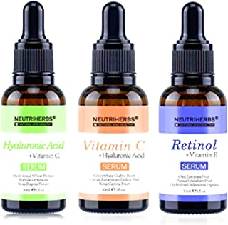 SUPERIOR SERUM GIFT SET BUNDLE WITH 1 oz (30 ML) VITAMIN C, 1 oz (30 ML) HYALURONIC ACID, 1 oz (30 ML) RETINOL | ANTI AGING & HYDRATING | DIMINISHES SURFACE LINES AND WRINKLES