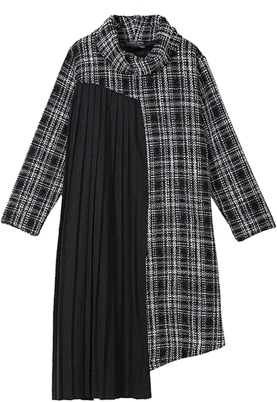 AllAboutUs Women Winter Turtleneck Black Midi Plaid Dress Long Sleeve Pleated Part Dress Style 4096